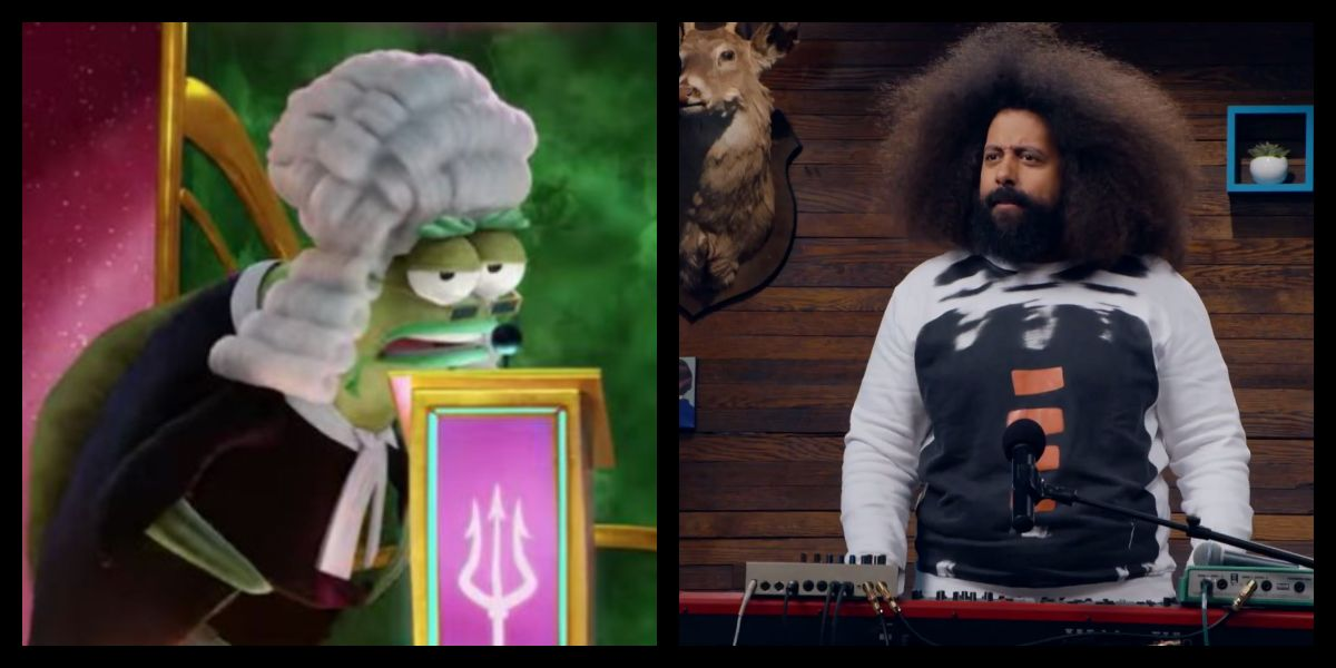 Reggie Watts alongside his character in The Spongebob Movie: Sponge on the Run