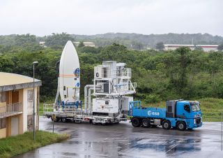 In preparation for Europe's first rideshare mission, flight VV16, Vega's upper composite containing 53 satellites secured on the new Small Spacecraft Mission Service (SSMS) dispenser move to the launch zone for integration with the launch vehicle at Europe's Spaceport in Kourou, French Guiana, on June 12, 2020.