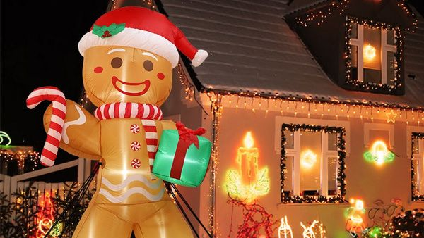 Inflatable Christmas decorations: PartyForYou 8FT Large Inflatable Gingerbread Man with LED Lights Yard Outdoor for Christmas Decor