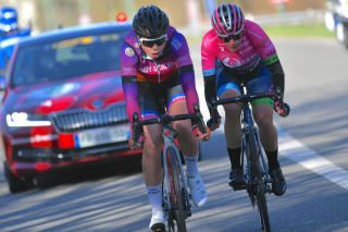 Claire Faber (Andy Schleck-CP NVST-Immo Losch) rides in front of Silvia Zanardi (Bepink) in attack during Liege0-Bastogne-Liege