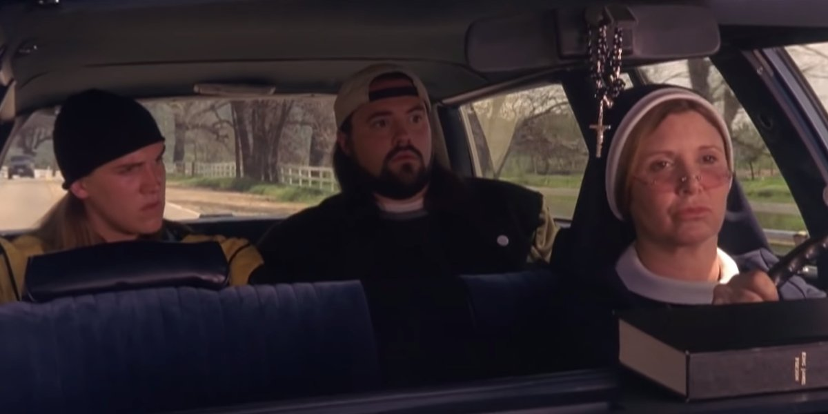 Jay and Silent Bob Strike Back Jay and Silent Bob being driven by Carrie Fisher's Nun