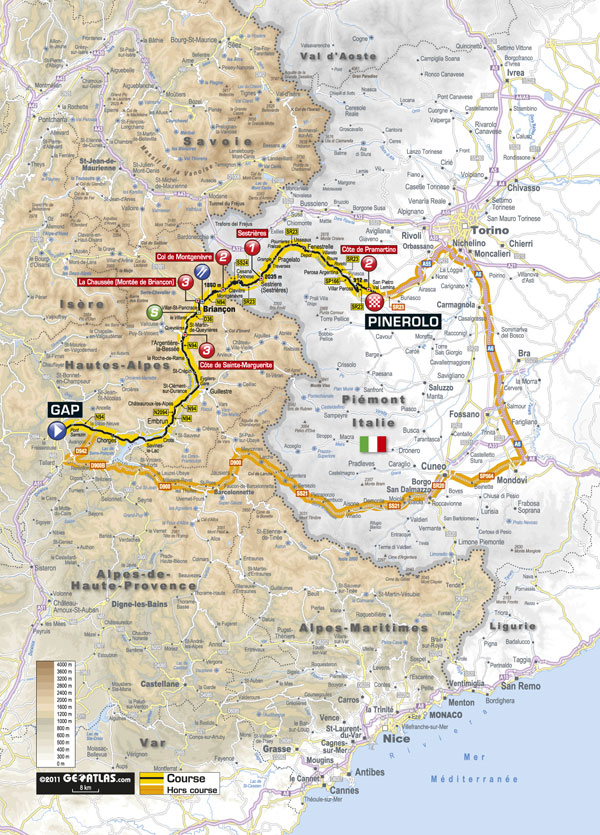 Stage 17 map, Tour de France 2011
