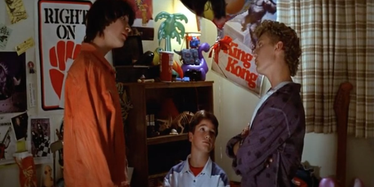 Keanu Reeves, Frazier Bain, and Alex Winter in Bill & Ted's Excellent Adventure