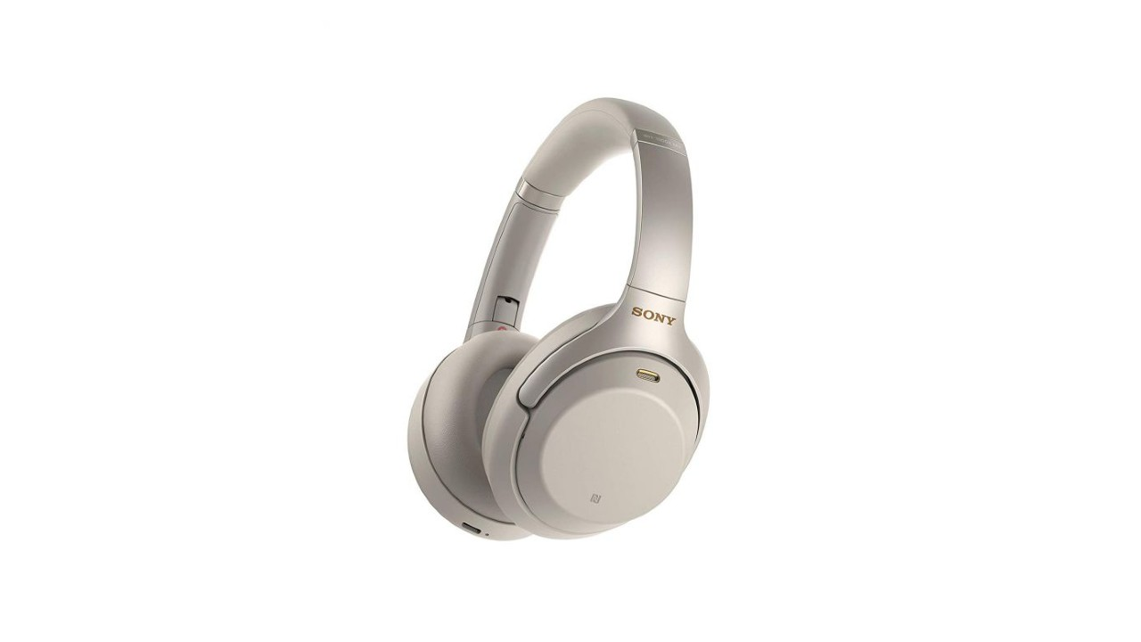 the Sony WH-1000XM3 noise-cancelling headphones in silver