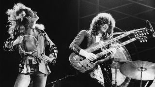 Led Zeppelin's Robert Plant and Jimmy Page playing Stairway To Heaven on stage in the 1970s