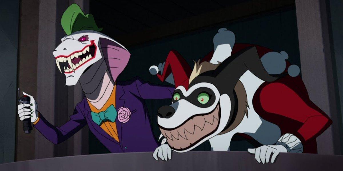 Troy Baker as Joker and Tara Strong as Harley Quinn in Batman Vs. Teenage Mutant Ninja Turtles