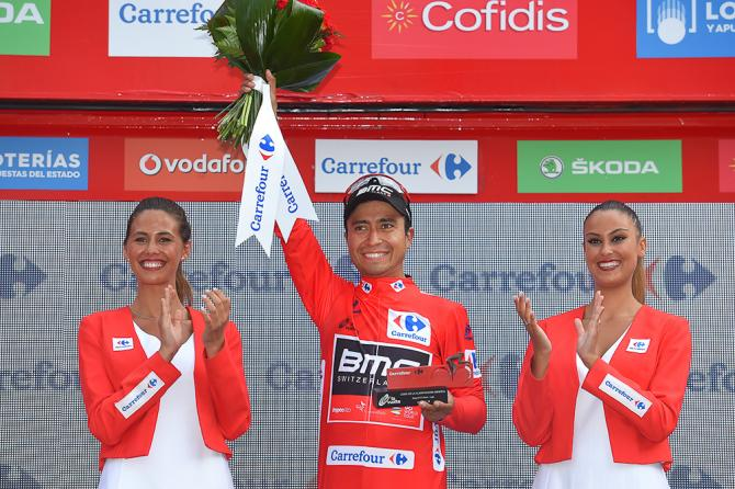 Darwin Atapuma in red after stage 5 at the Vuelta