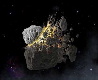 An artist's depiction of an asteroid collision in outer space.