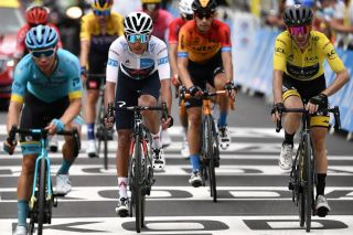 Team Ineos rider Colombias Egan Bernal 2ndL and Team Mitchelton rider Great Britains Adam Yates 1stR cross the finish line at the end of the 8th stage of the 107th edition of the Tour de France cycling race 140 km between CazeressurGaronne and Loudenvielle on September 5 2020 Photo by Marco Bertorello POOL AFP Photo by MARCO BERTORELLOPOOLAFP via Getty Images