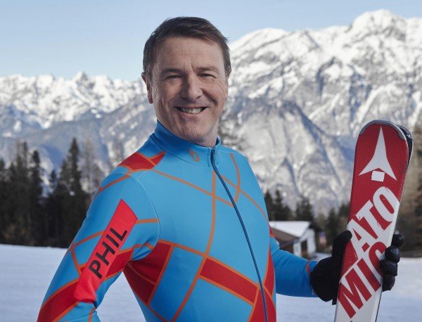 Phil Tufnell on the slopes for The Jump
