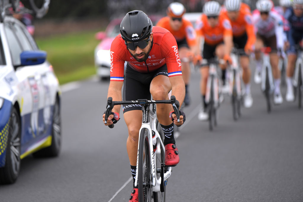 BELLEGARDE FRANCE FEBRUARY 03 Nacer Bouhanni of France and Team Arkea Samsic during the 51st toile de Bessges Tour du Gard 2021 Stage 1 a 14355km stage from Bellegarde to Bellegarde 57m EDB2020 on February 03 2021 in Bellegarde France Photo by Luc ClaessenGetty Images