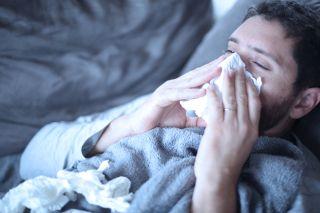 flu, sick man