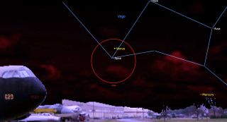 The planet Venus gleams above the bright star Spica in the evening sky on Sept. 5, 2021.