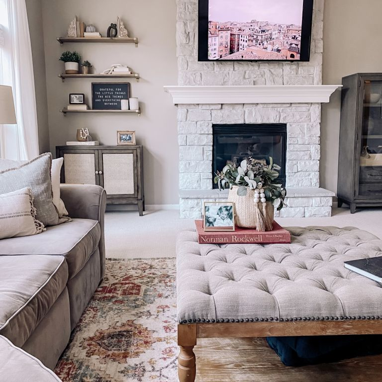 whitewashed fire place