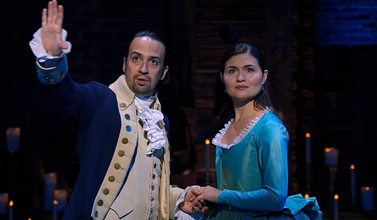 Lin-Manuel Miranda and Phillipa Soo as Alexander Hamilton and Eliza Hamilton