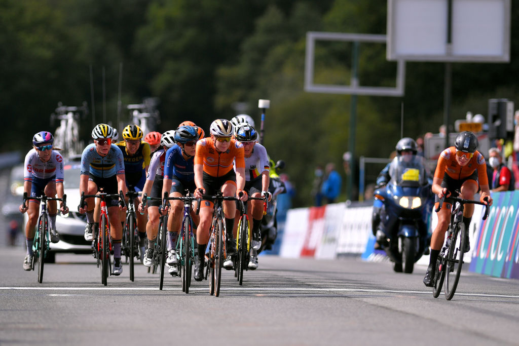 PLOUAY FRANCE AUGUST 27 Lotte Kopecky of Belgium Anna Van Der Breggen of The Netherlands Elena Cecchini of Italy Lisa Brennauer of Germany Demi Vollering of The Netherlands during the 26th UEC Road European Championships 2020 Womens Elite Road Race a 1092km race from Plouay to Plouay GrandPrixPlouay GPPlouay on August 27 2020 in Plouay France Photo by Luc ClaessenGetty Images