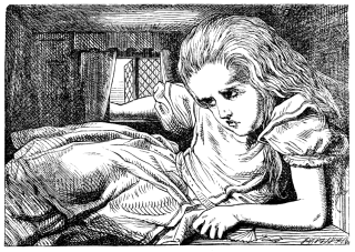"An illustration depicting the symptoms of micropsia, when things appear smaller than they are, from Lewis Carroll's ""Alice's Adventures in Wonderland."""