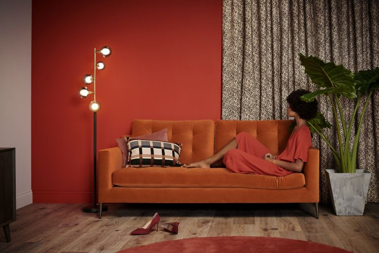 bright orange sofa from john lewis & partners