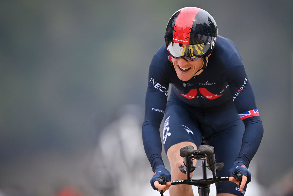 Britains Geraint Thomas competes in the final stage 161 km time trial Fribourg to Fribourg during the Tour de Romandie UCI World Tour 2021 cycling race on May 2 2021 in Fribourg Photo by Fabrice COFFRINI AFP Photo by FABRICE COFFRINIAFP via Getty Images