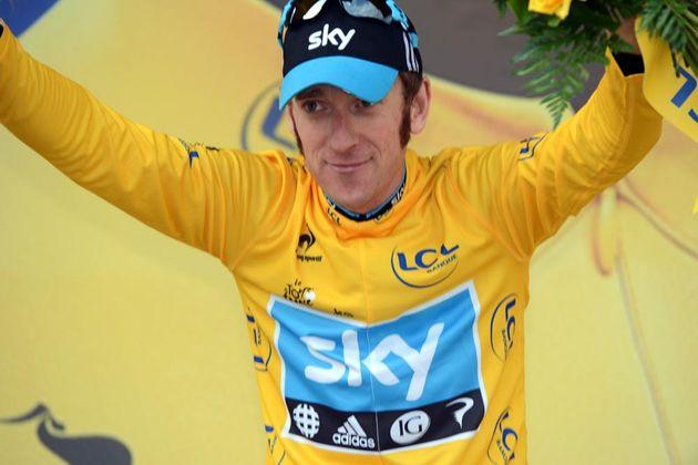 Bradley Wiggins on podium, Tour de France 2012, stage 19