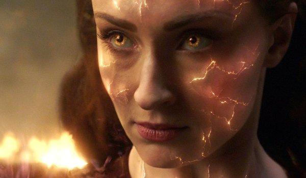 Dark Phoenix Jean Grey's fiery face in front of some burning wreckage