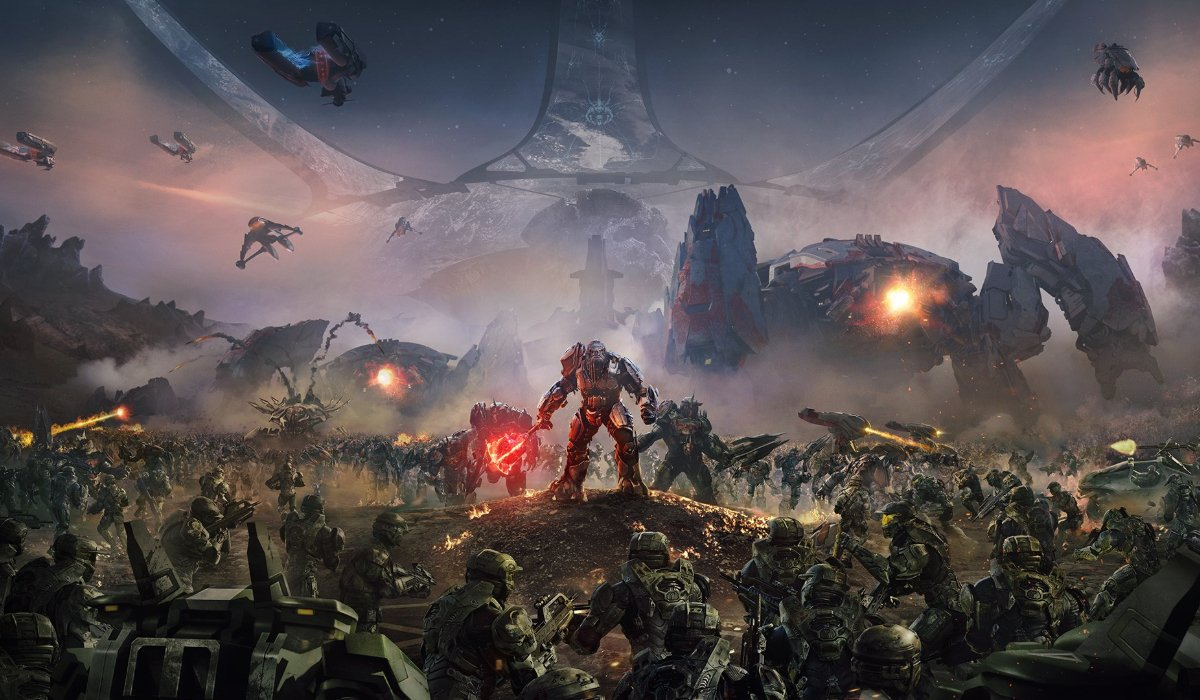 Halo Wars 2 a gigantic battle is fought under the Halo
