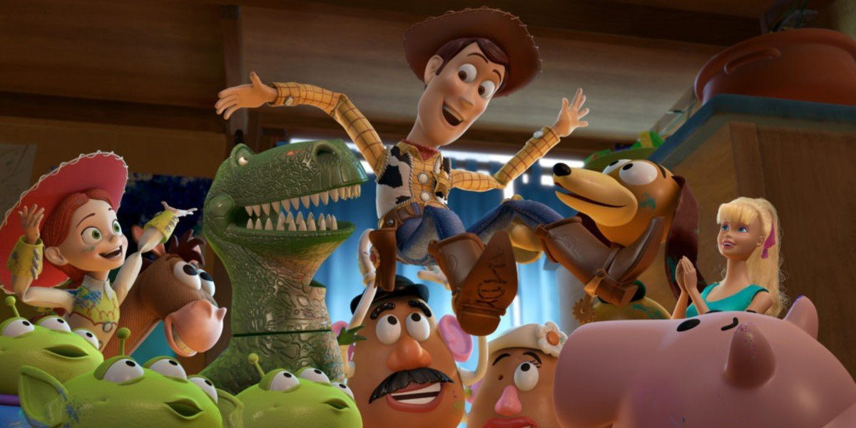 The toys holding Woody up in Toy Story 3