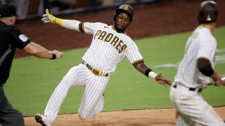 Padres Profar slides into home to score
