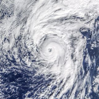 Hurricane Alex, the first hurricane of the 2016 season, whirls near the Azores islands in this image snapped on Jan. 14.