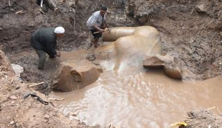 Archaeologists unearthed fragments of a colossal statue possibly showing Pharaoh Ramesses II.