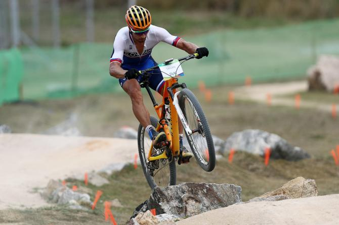 Peter Sagan practices on the MTB course of the Rio 2016 Olympic Games at the Mountain Bike Centre