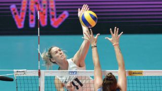 Team USA women's volleyball at the Olympics: Andrea Drews goes up
