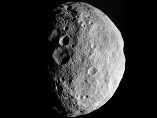 The Dawn probe's view of Vesta as it departed.