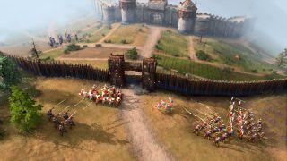 Age of Empires 4: Eine Armee greift eine Festung an