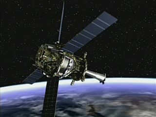 Artist's concept of Gravity Probe B spacecraft in orbit around the Earth.