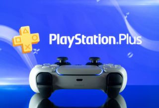 PS Plus logo with PS5 controller