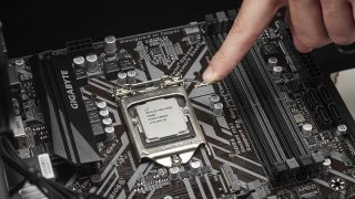 Detail of an Intel Pentium Gold G5600 CPU and Gigabyte B360M D3H motherboard, taken on July 30, 2018. (Photo by Phil Barker/Maximum PC Magazine)