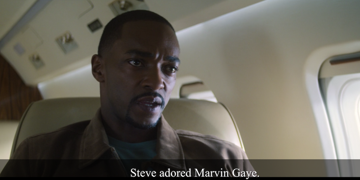 anthony mackie's sam wilson talking about marvin gaye in zemo's plane in the falcon and the winter soldier
