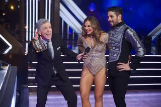 From left: 'Dancing With the Stars' host Tom Bergeron and 2019 'DWTS' contestants Hannah Brown and Alan Bersten.