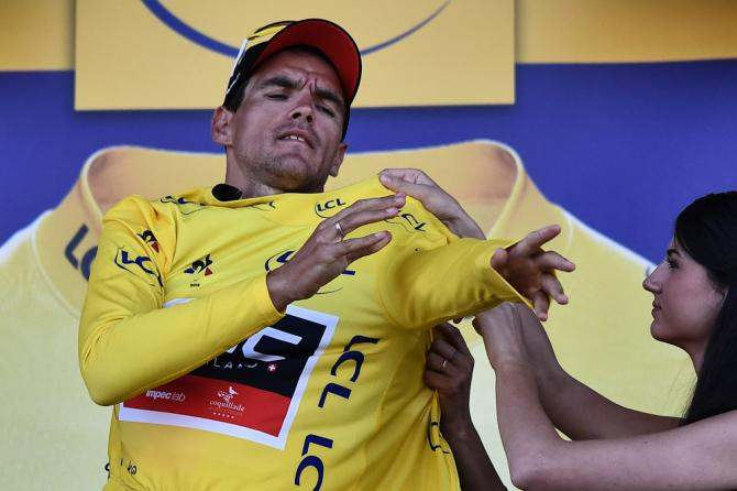 Greg van Avermaet pulls on the yellow jersey after stage 6