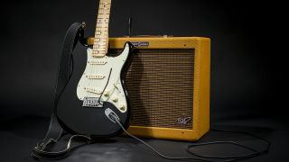 Picture of a Fender Edge strat guitar and amp