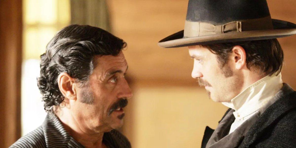 Ian McShane and Timothy Olyphant on Deadwood