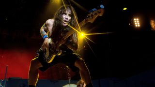 Steve Harris of Iron Maiden performs at Rogers Bayfest in Sarnia, ONT Canada on July 14, 2012 in Sarnia, Canada