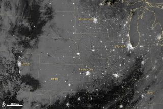 Midwest snowfall from space
