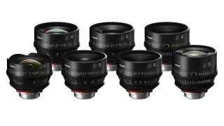 From left to right: CN-E14mm T3.1 FP X, CN-E20mm T1.5 FP X, CN-E24mm T1.5 FP X, CN-E35mm T1.5 FP X, CN-E50mm T1.3 FP X, CN-E85mm T1.3 FP X and the CN-E135mm T2.2 FP X. Image credit: Canon