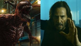 Carnage in Venom: Let There Be Carnage and Keanu Reeves in The Matrix Resurrections
