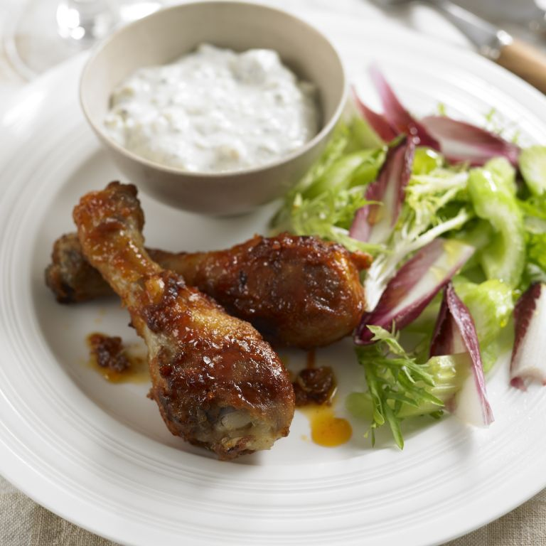Buffalo chicken drumsticks with blue cheese dip recipe-recipe ideas-new recipes-woman and home