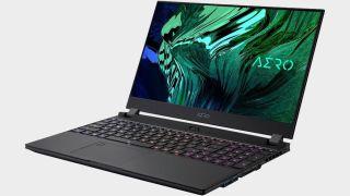 Gigabyte's Aero 15 OLED gaming laptop on a gray background.