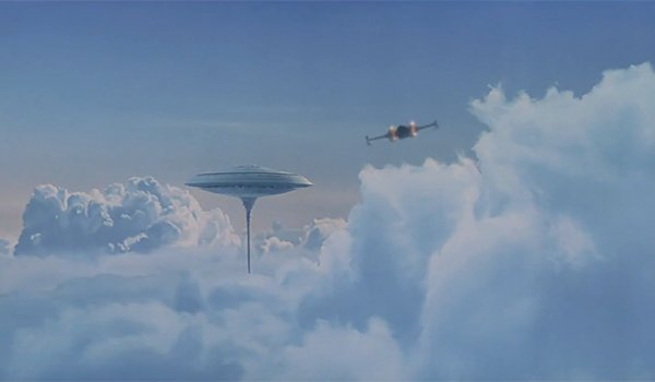 Luke flying to Cloud City