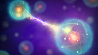 An artist's illustration of quantum entanglement.